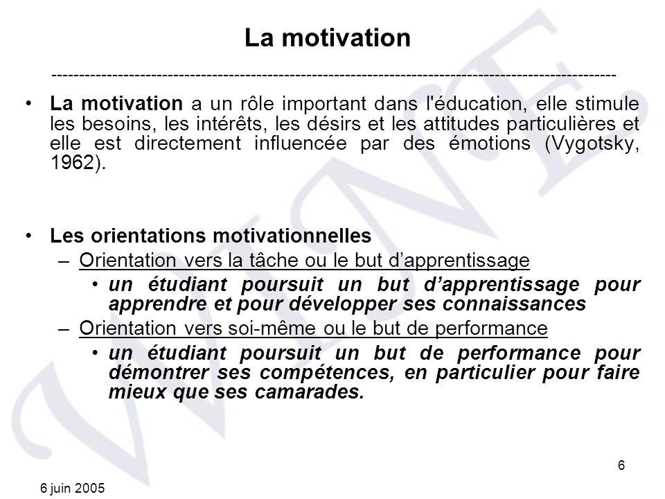 La motivation ------------------------------------------------------------------------------------------------------