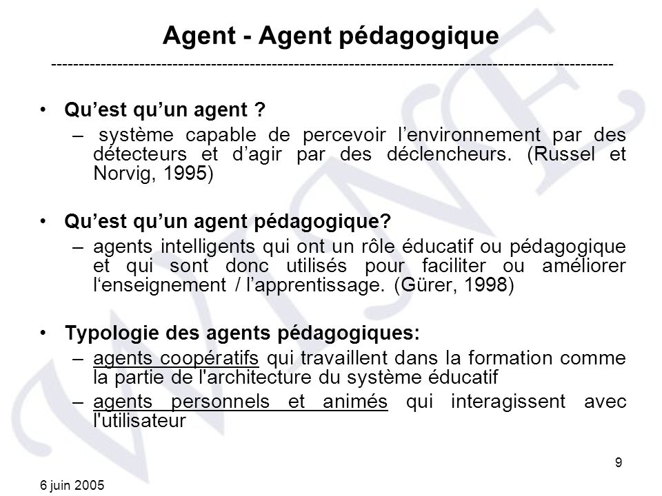 Agent - Agent pédagogique