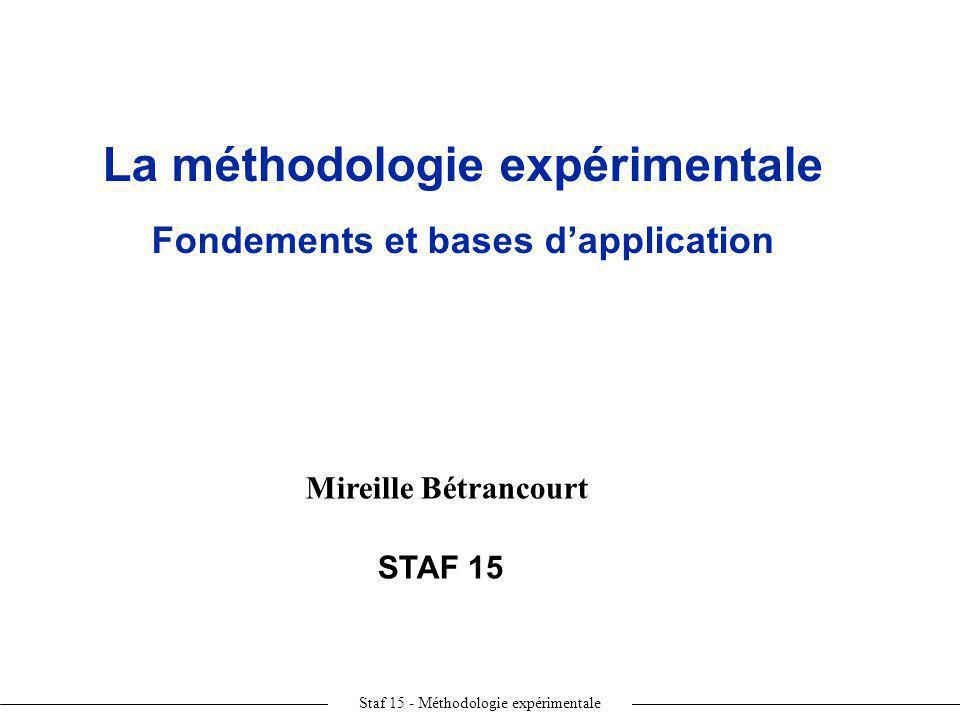 La méthodologie expérimentale Fondements et bases d'application
