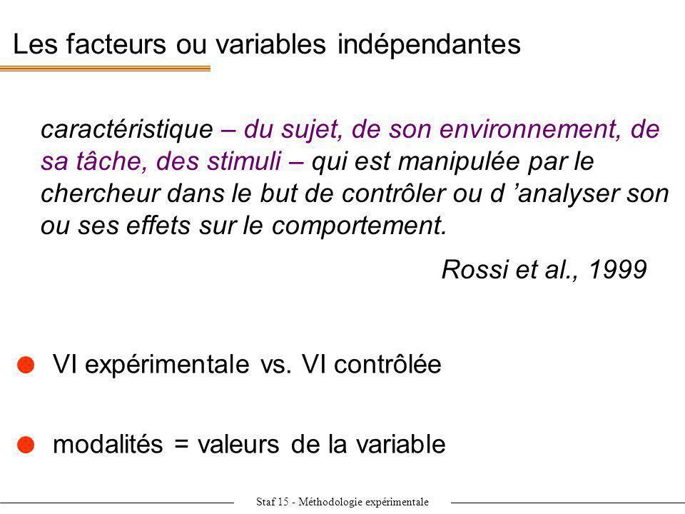Les facteurs ou variables indépendantes