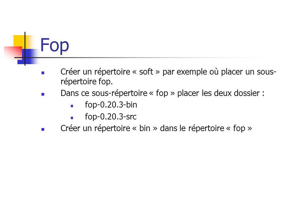 Fop Créer un répertoire « soft » par exemple où placer un sous-répertoire fop. Dans ce sous-répertoire « fop » placer les deux dossier :