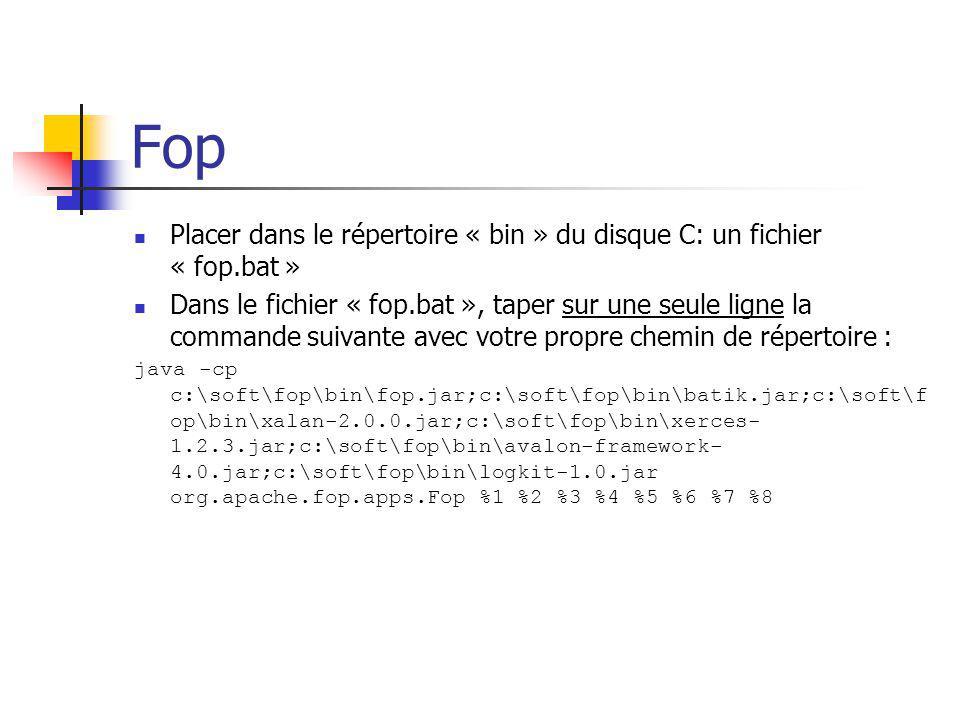 Fop Placer dans le répertoire « bin » du disque C: un fichier « fop.bat »