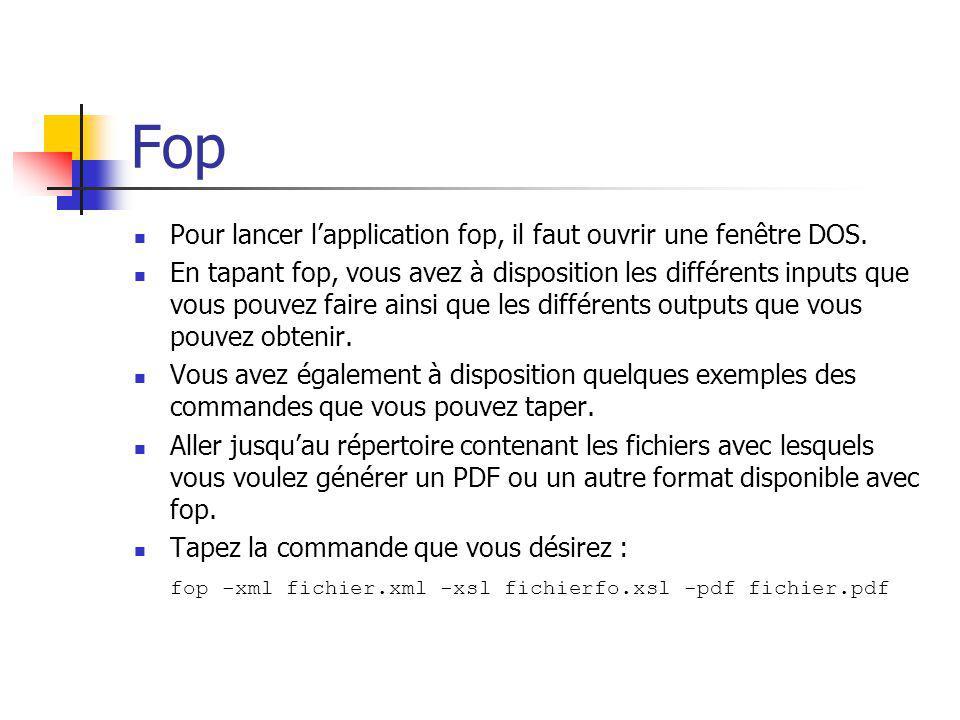 Fop Pour lancer l'application fop, il faut ouvrir une fenêtre DOS.