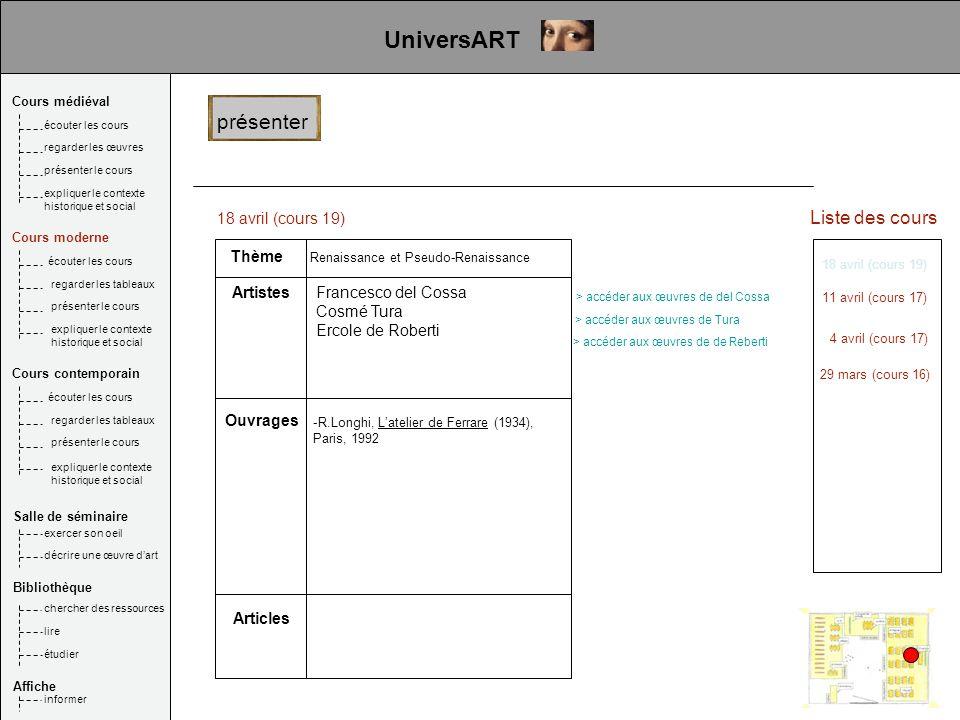 UniversART présenter Liste des cours 18 avril (cours 19) Thème