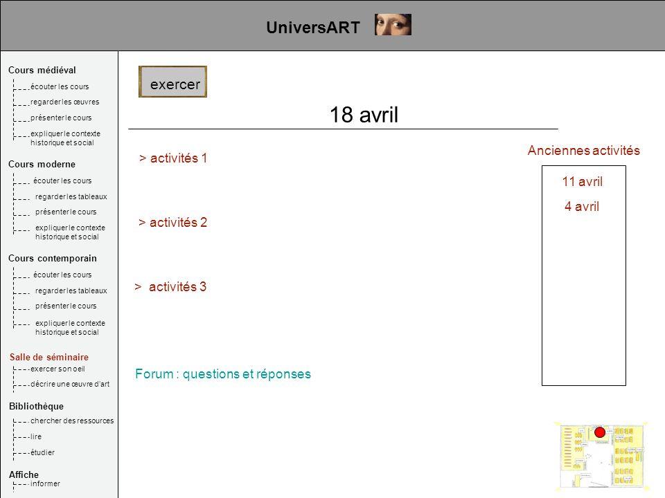 18 avril UniversART exercer > activités 1 Anciennes activités