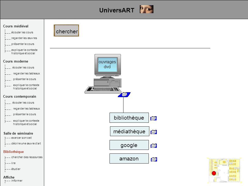 UniversART chercher bibliothèque médiathèque google amazon ouvrages