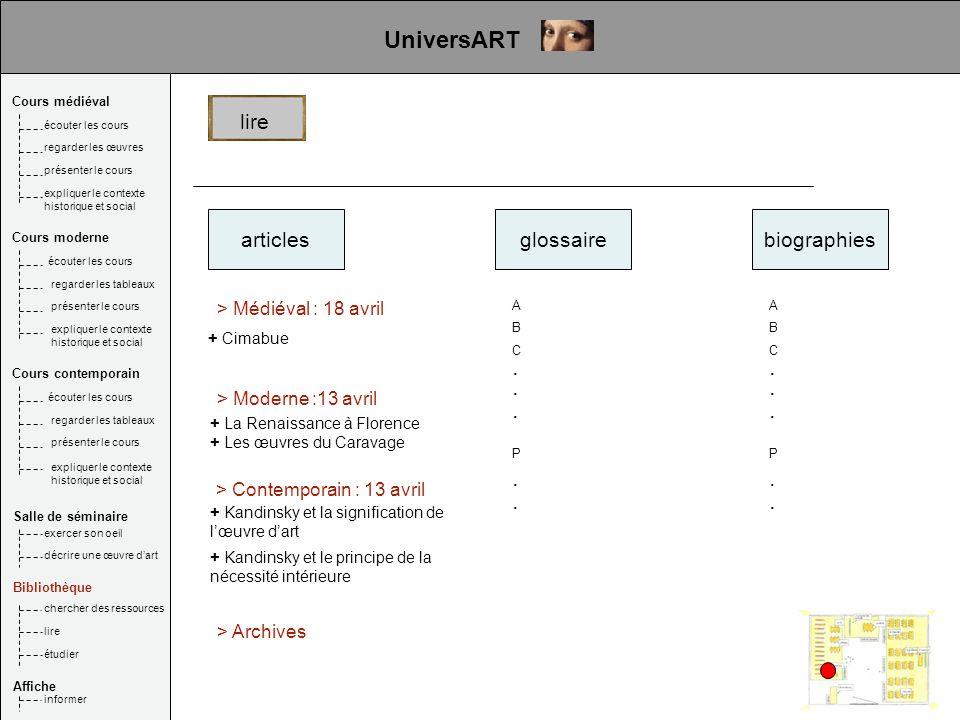 UniversART . . . . . . . . . . lire articles glossaire biographies