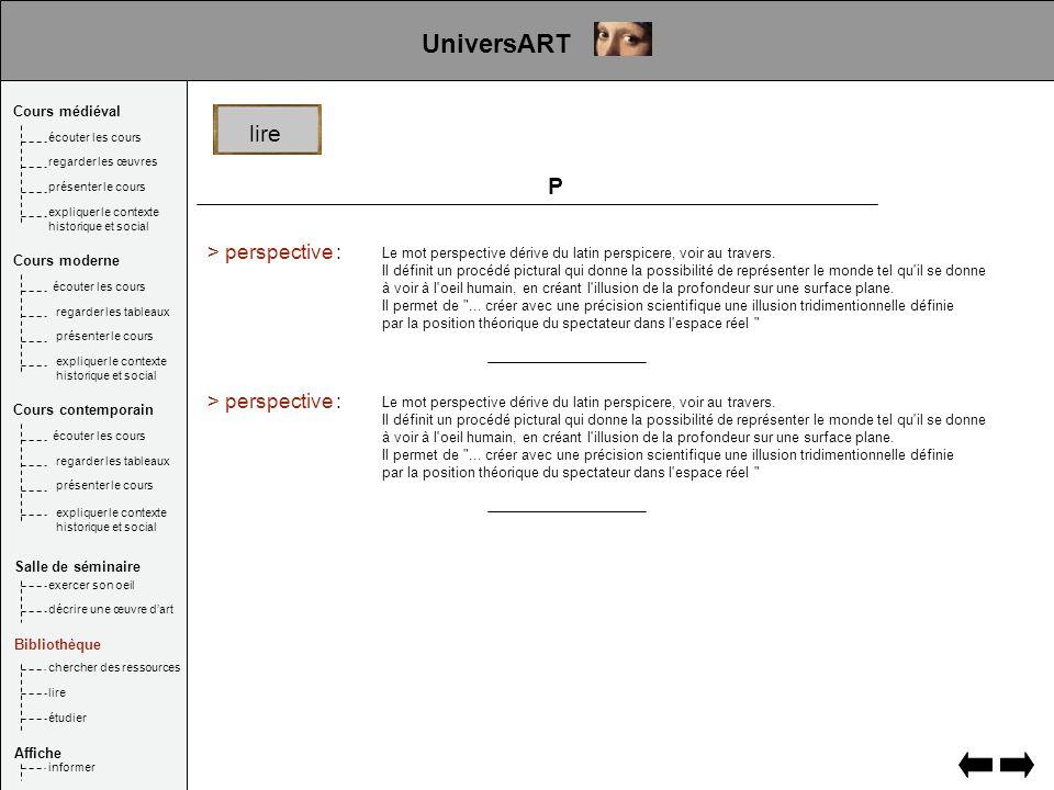 UniversART lire P > perspective : > perspective : Cours médiéval