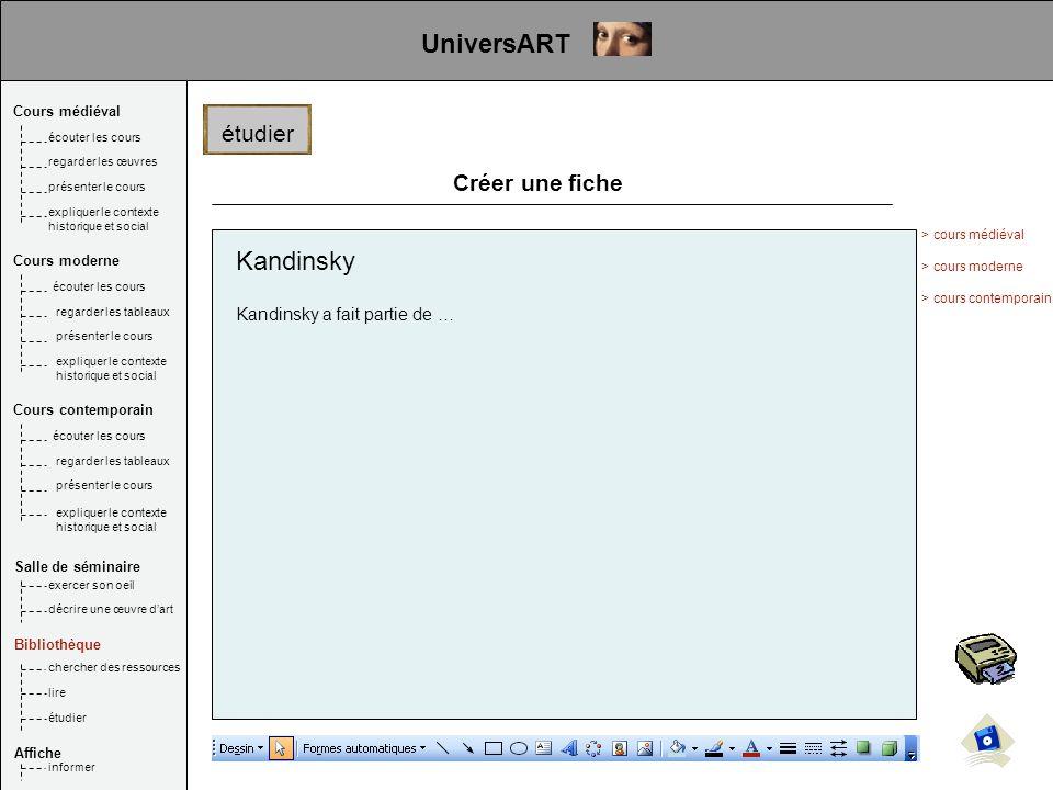 UniversART Kandinsky étudier Créer une fiche
