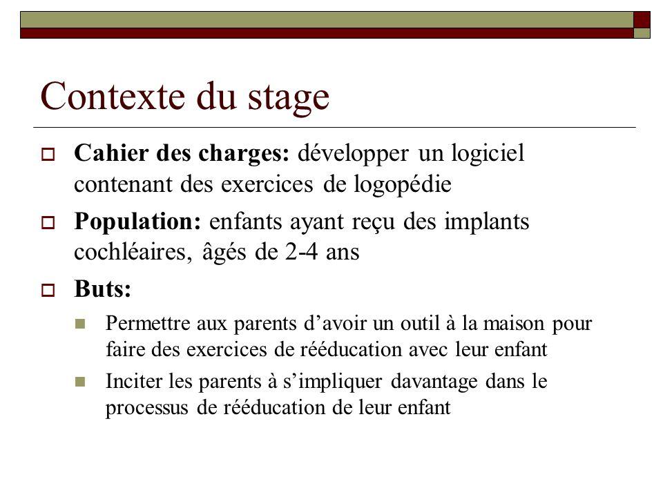 Contexte du stage Cahier des charges: développer un logiciel contenant des exercices de logopédie.