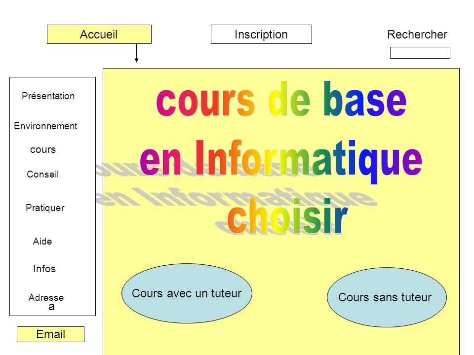 cours de base en Informatique choisir Accueil Inscription Rechercher