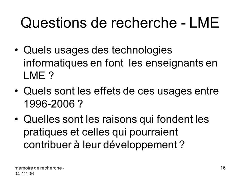 Questions de recherche - LME