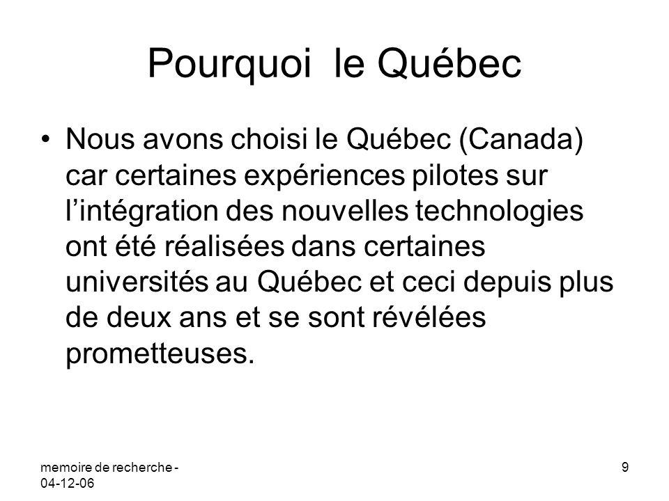 Pourquoi le Québec