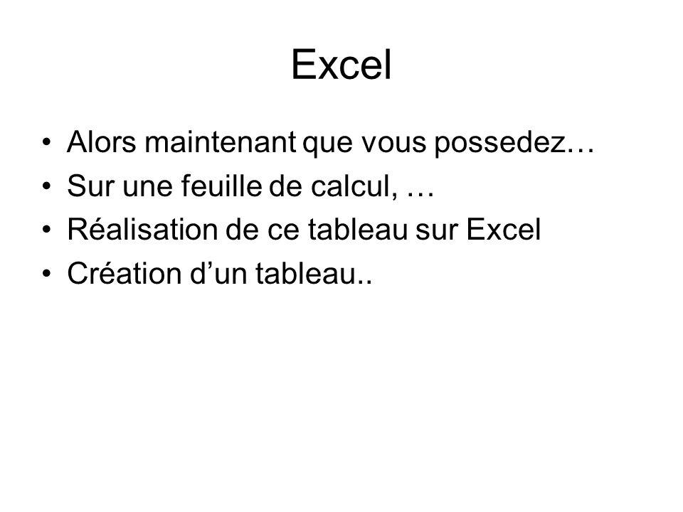 Excel Alors maintenant que vous possedez… Sur une feuille de calcul, …