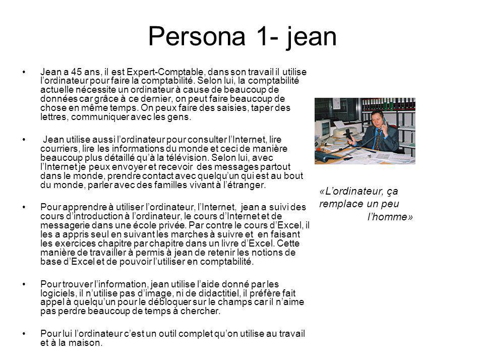 Persona 1- jean «L'ordinateur, ça remplace un peu l'homme»