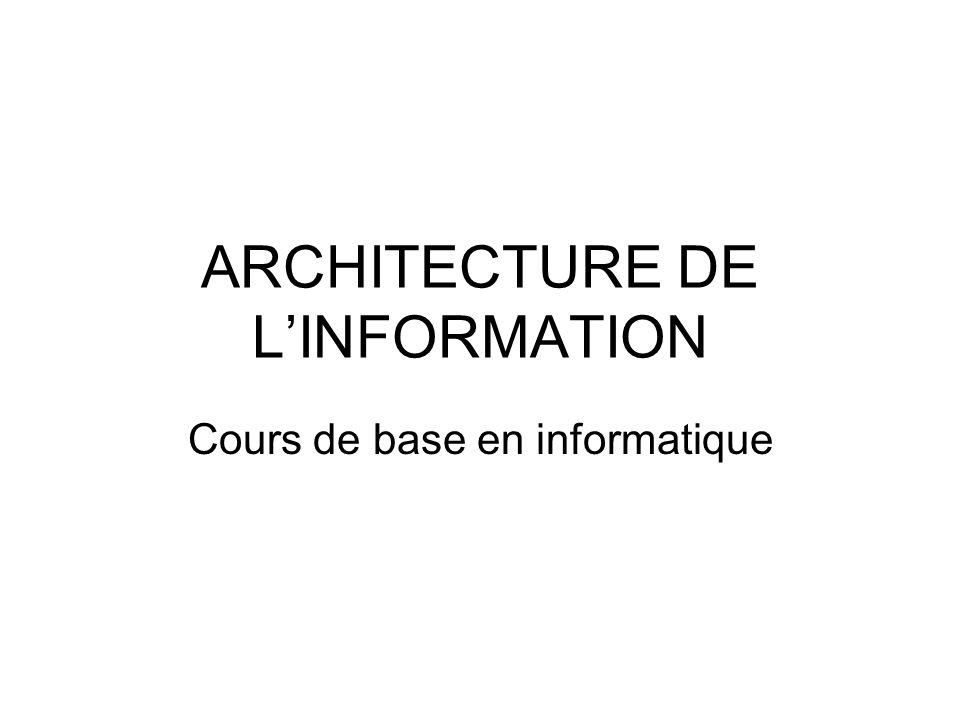 ARCHITECTURE DE L'INFORMATION
