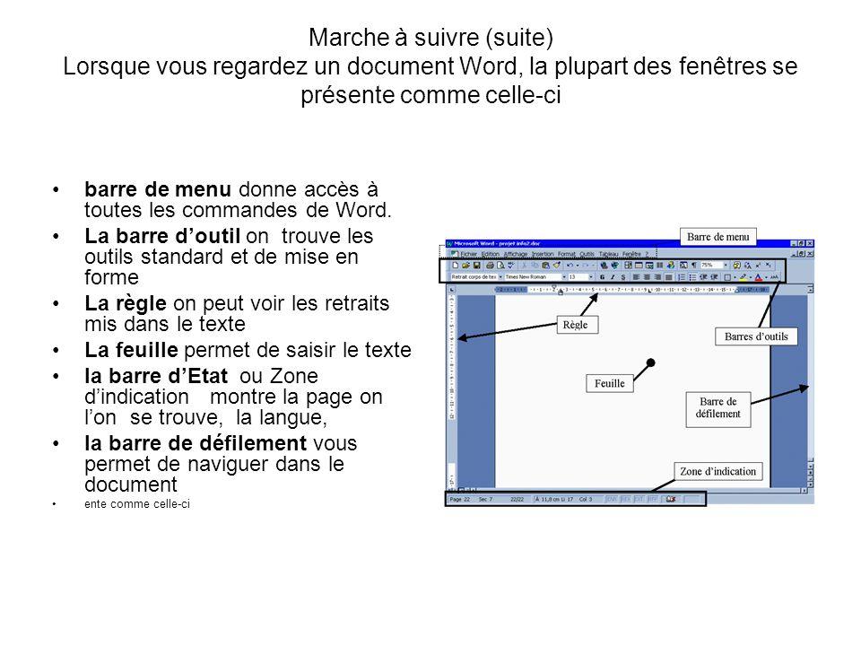 Marche à suivre (suite) Lorsque vous regardez un document Word, la plupart des fenêtres se présente comme celle-ci