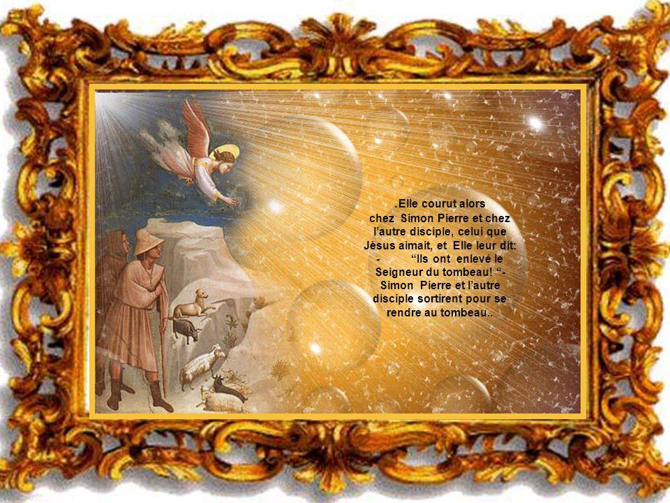.Elle courut alors chez Simon Pierre et chez l'autre disciple, celui que Jèsus aimait, et Elle leur dit: - Ils ont enlevé le Seigneur du tombeau.