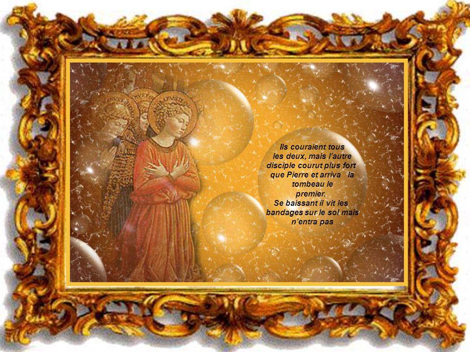 Ils couraient tous les deux, mais l'autre disciple courut plus fort que Pierre et arriva la tombeau le premier. Se baissant il vit les bandages sur le sol mais n'entra pas