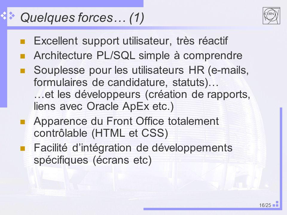 Quelques forces… (1) Excellent support utilisateur, très réactif