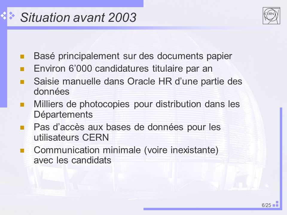 Situation avant 2003 Basé principalement sur des documents papier