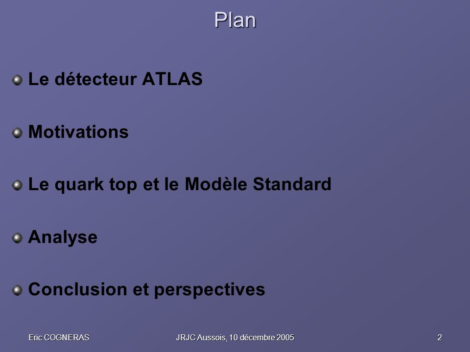 Plan Le détecteur ATLAS Motivations Le quark top et le Modèle Standard