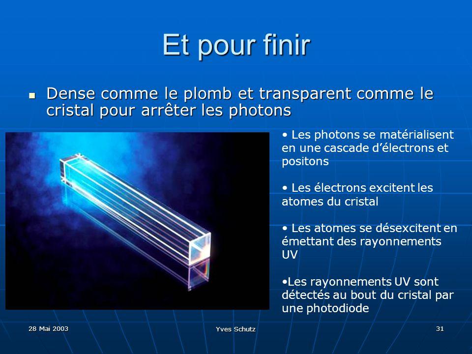 Et pour finir Dense comme le plomb et transparent comme le cristal pour arrêter les photons.