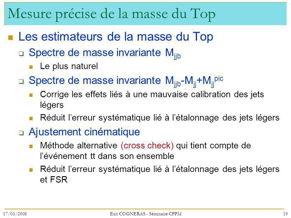 Mesure précise de la masse du Top
