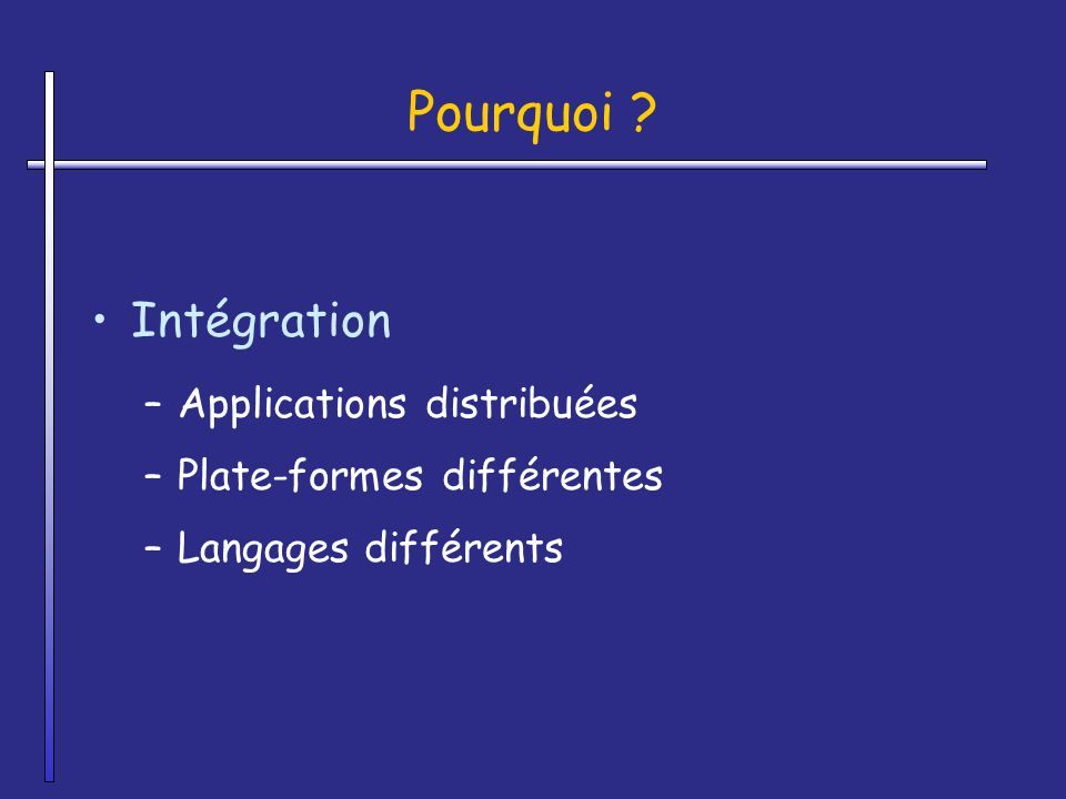 Pourquoi Intégration Applications distribuées