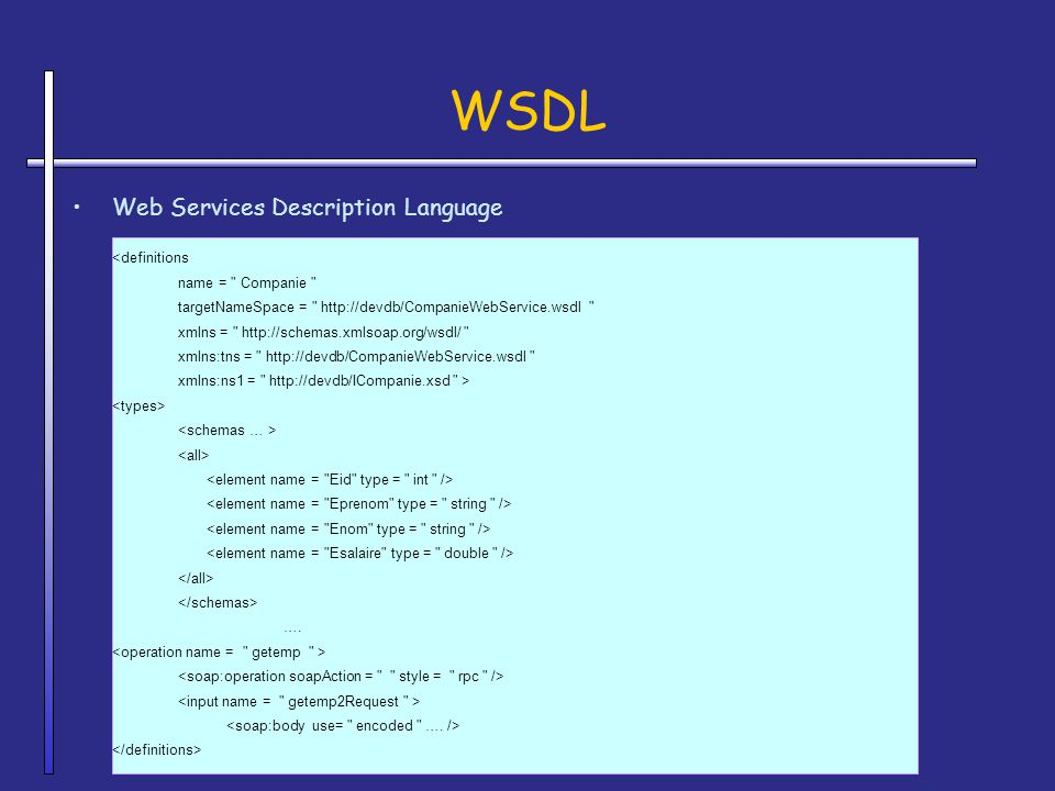 WSDL Web Services Description Language name = Companie