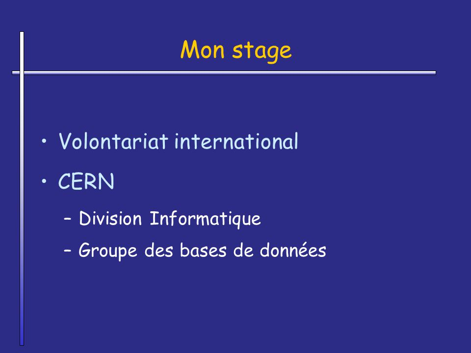 Mon stage Volontariat international CERN Division Informatique