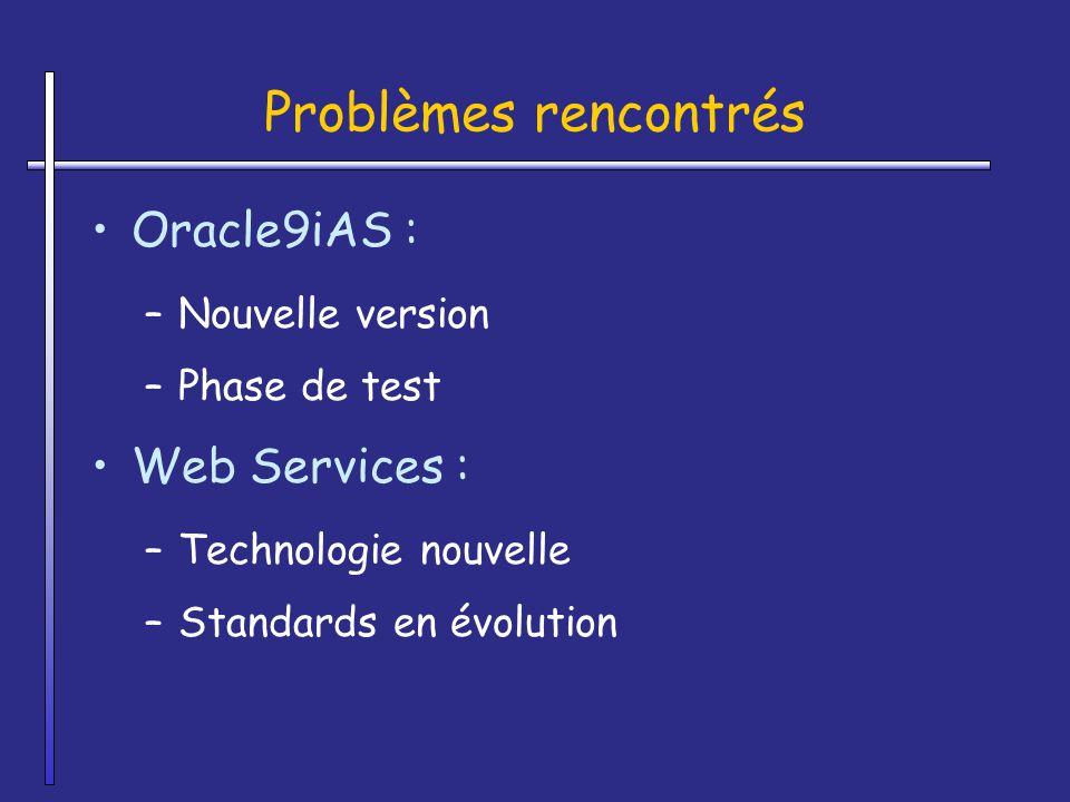 Problèmes rencontrés Oracle9iAS : Web Services : Nouvelle version