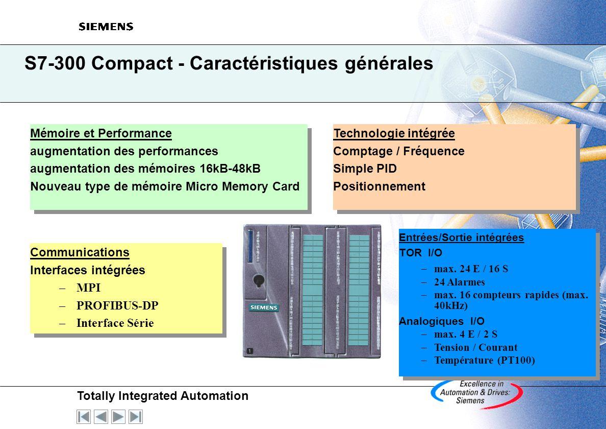 S7-300 Compact - Caractéristiques générales