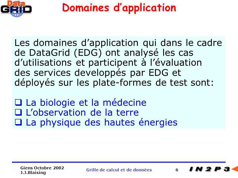 Domaines d'application Grille de calcul et de données