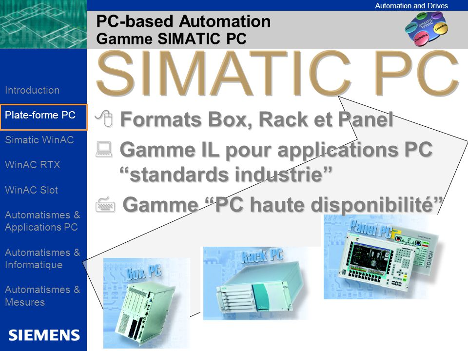 PC-based Automation Gamme SIMATIC PC
