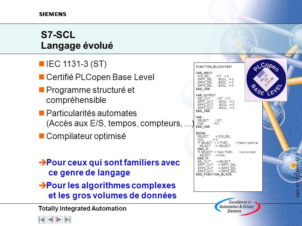 S7-SCL Langage évolué IEC 1131-3 (ST) Certifié PLCopen Base Level
