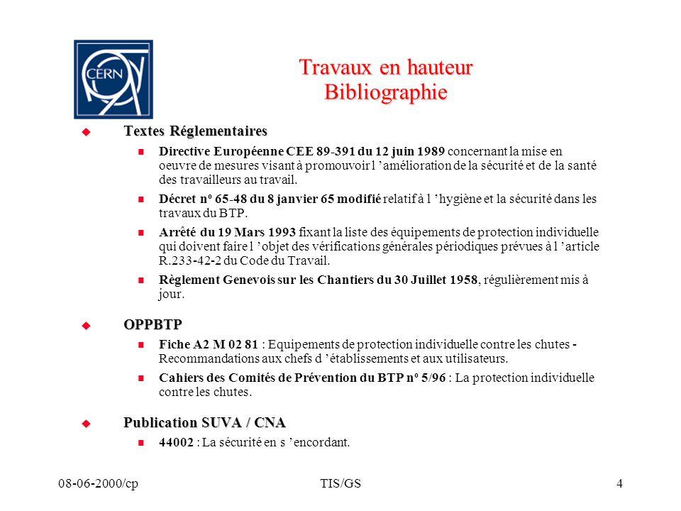 Travaux en hauteur Bibliographie
