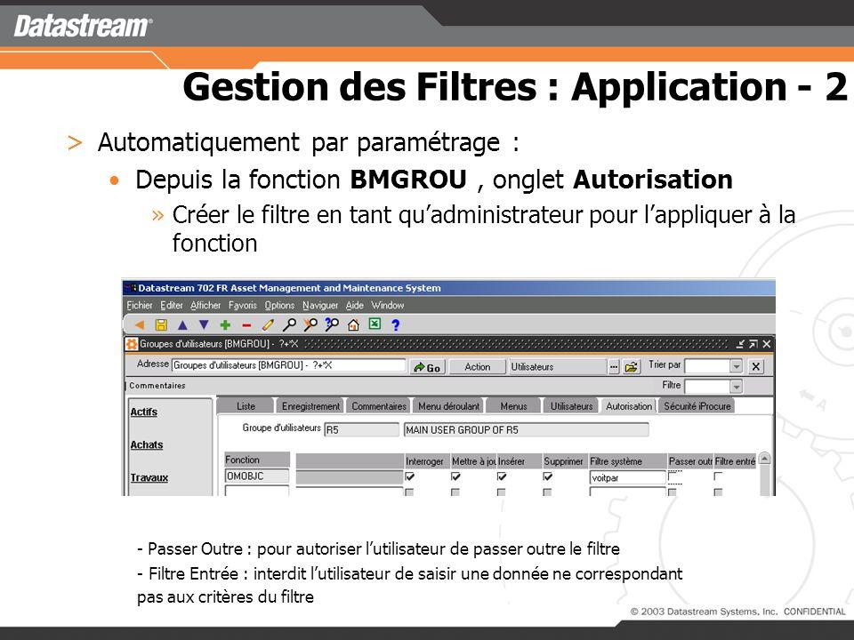 Gestion des Filtres : Application - 2