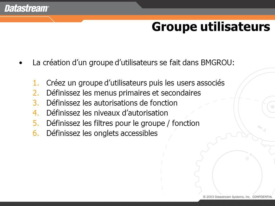 Groupe utilisateurs La création d'un groupe d'utilisateurs se fait dans BMGROU: Créez un groupe d'utilisateurs puis les users associés.