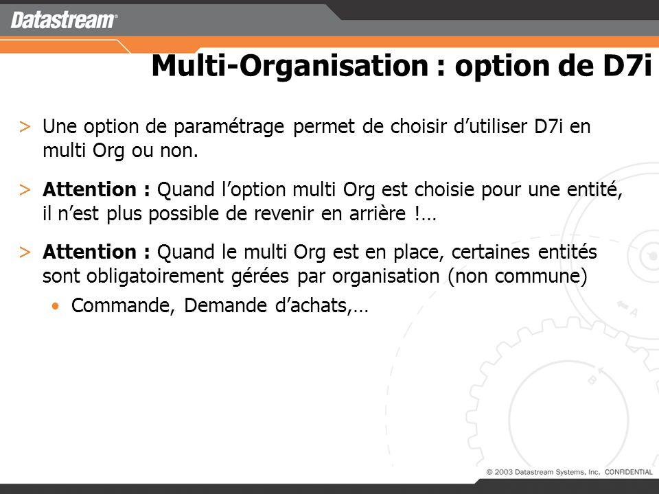 Multi-Organisation : option de D7i