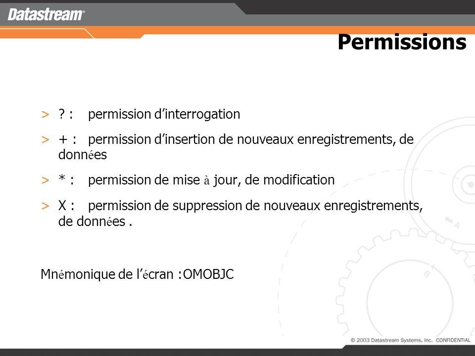 Permissions : permission d'interrogation