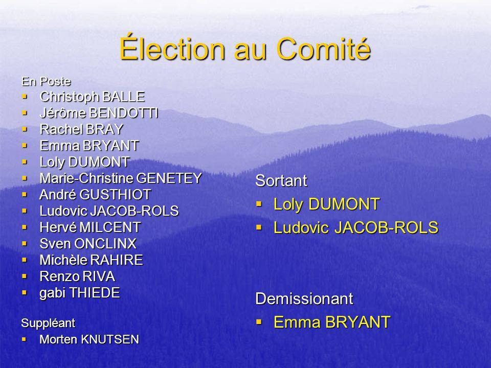 Élection au Comité Sortant Loly DUMONT Ludovic JACOB-ROLS Demissionant