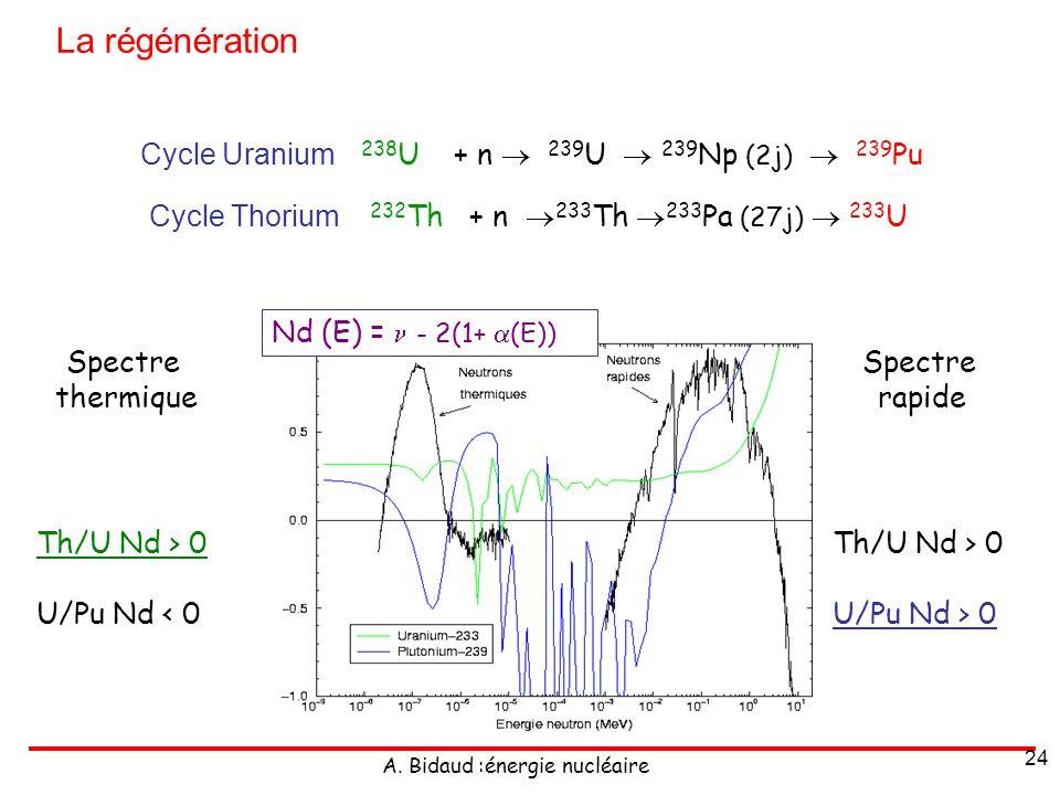 La régénération Cycle Uranium 238U + n  239U  239Np (2j)  239Pu