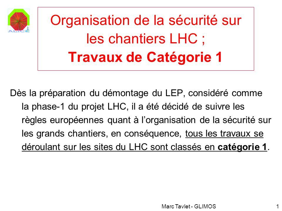 Organisation de la sécurité sur les chantiers LHC ; Travaux de Catégorie 1