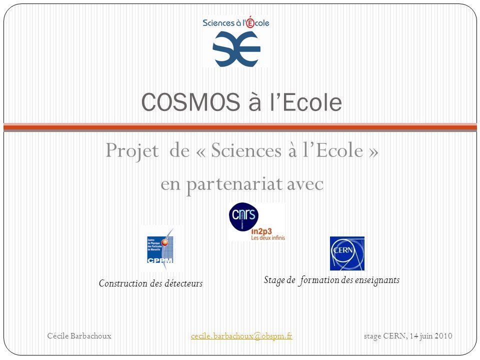Projet de « Sciences à l'Ecole »