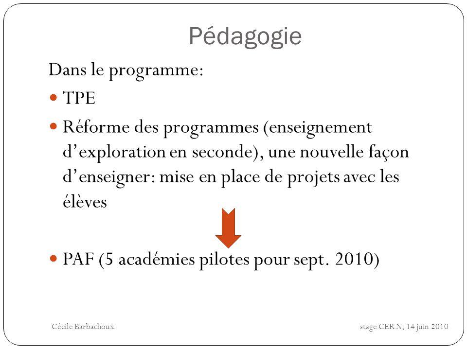 Pédagogie Dans le programme: TPE