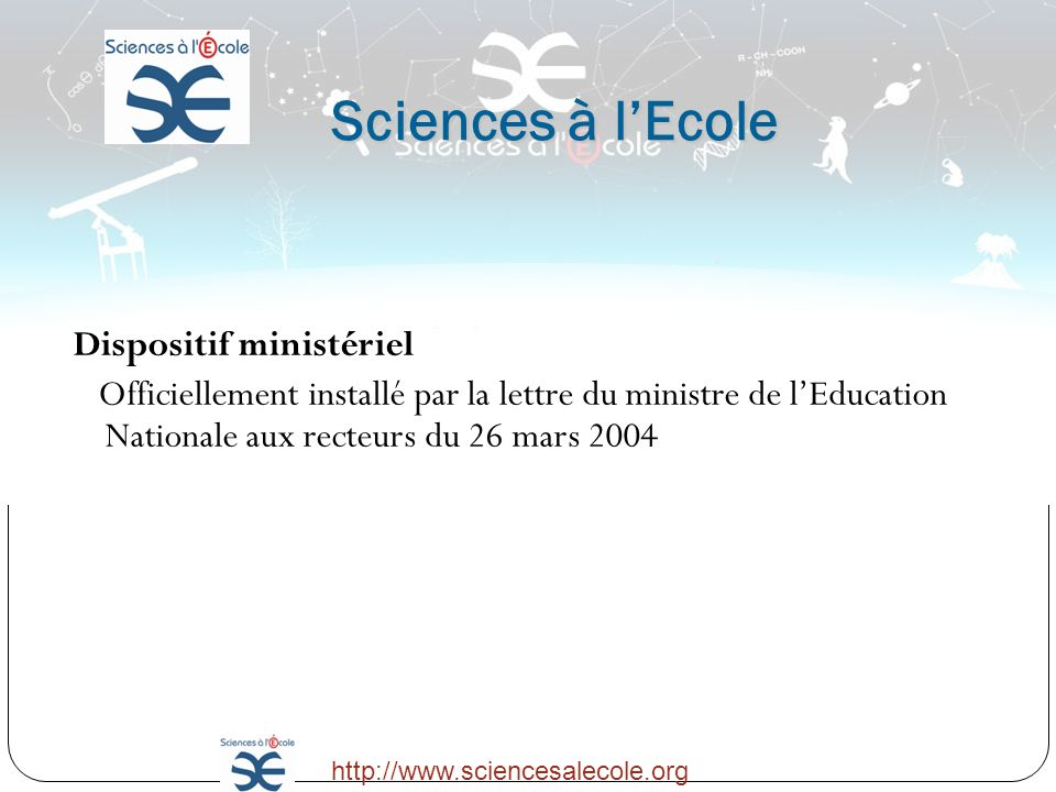 Sciences à l'Ecole Dispositif ministériel