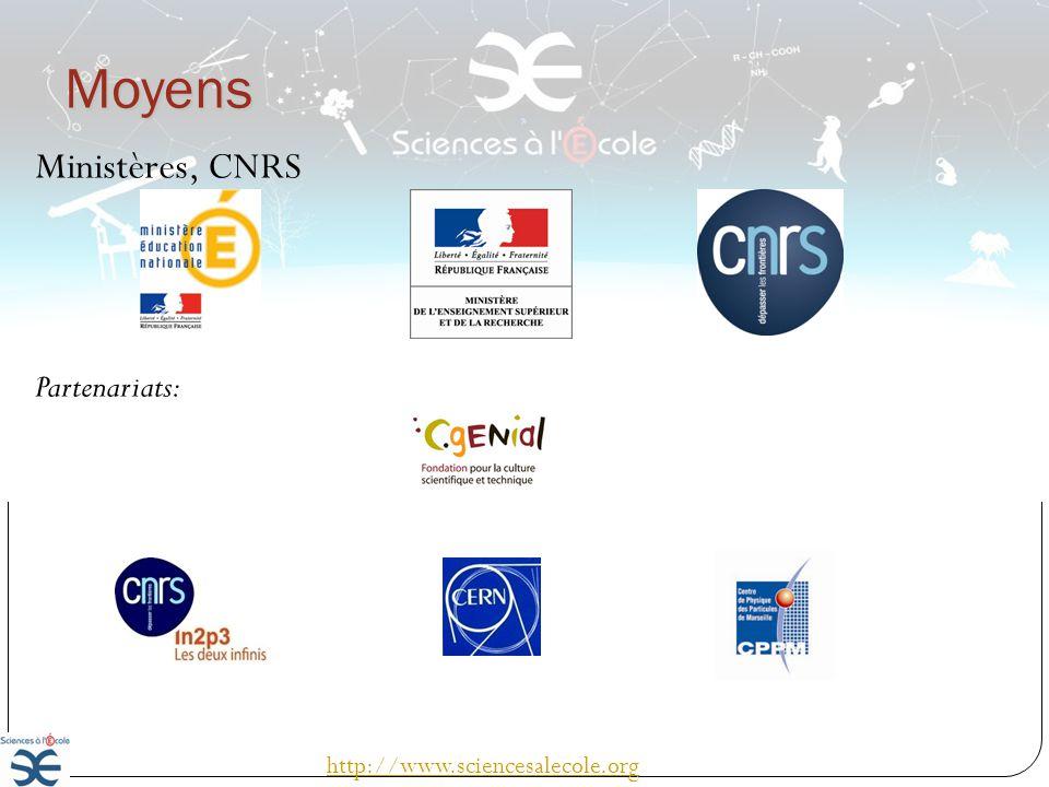 Moyens Ministères, CNRS Partenariats: http://www.sciencesalecole.org