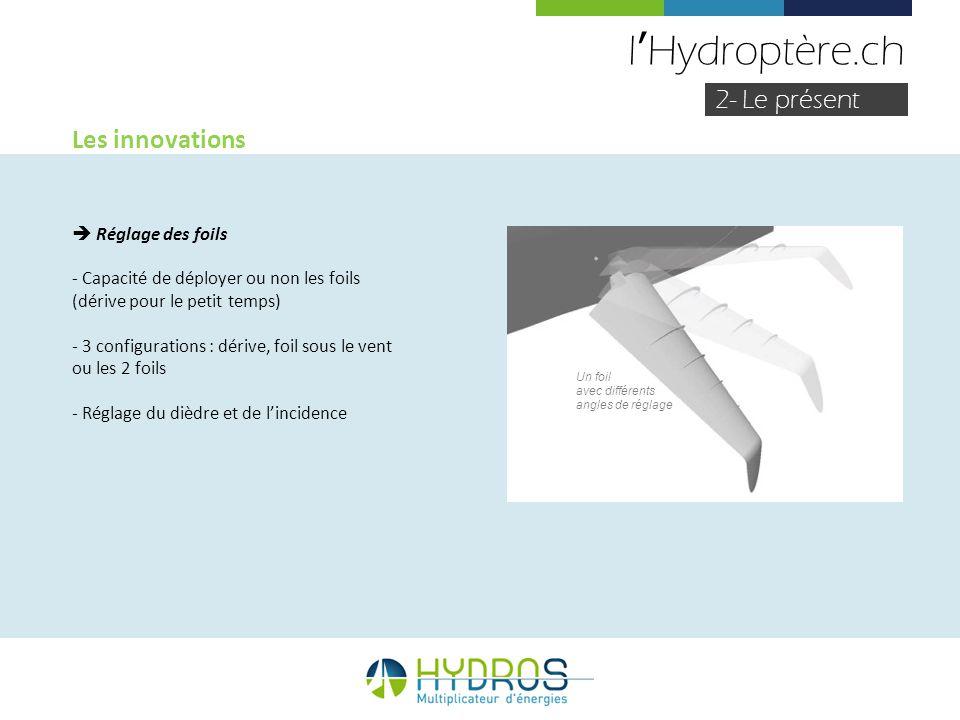 l'Hydroptère.ch 2- Le présent Les innovations  Réglage des foils