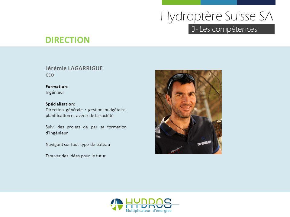 Hydroptère Suisse SA DIRECTION 3- Les compétences Jérémie LAGARRIGUE